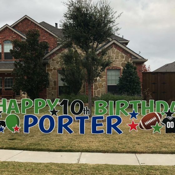 Happy 10th Birthday Porter Yard Sign