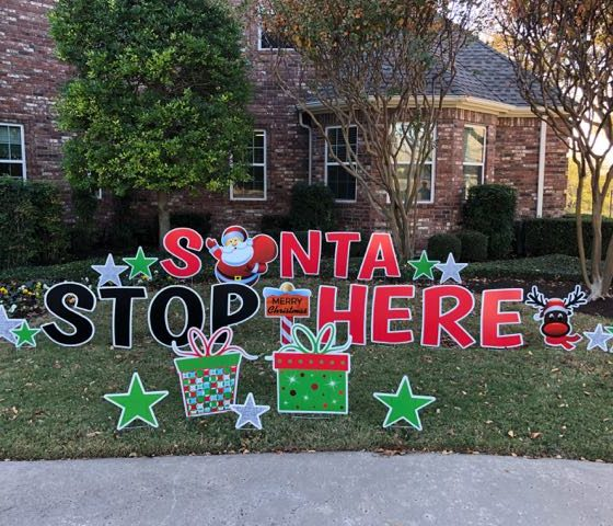 Santa Stop Here Yard Greeting